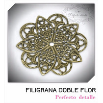 25 Filigranas Doble Flor Bronce Para Decorar Invitaciones