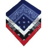 Kit 4 Bandanas Preto Vermelho Branco Azul Escuro 100%algodão