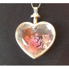Colar Coração Metal Prateado Vidro Flores Secas Rosa Novo