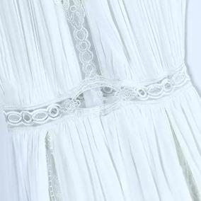 Vestido Largo Con Bordado Importado Blanco