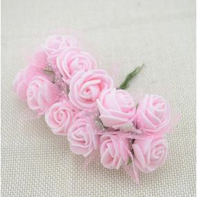 144 Mini Rosas Flores Rosinhas Artificiais Rosa Seda Eva