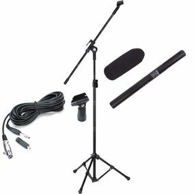 Kit Microfone Direcional Shotgun Boom + Cabo + Pedestal