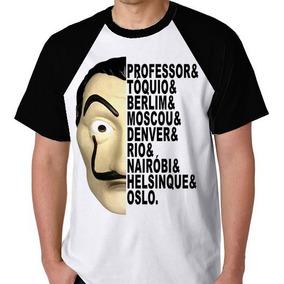 Camiseta Raglan Camisa Blusa La Casa De Papel Máscara Nomes