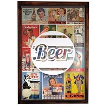 Quadro Box De Vidro 60x40 Cerveja Vintage Para Colocar Tampa
