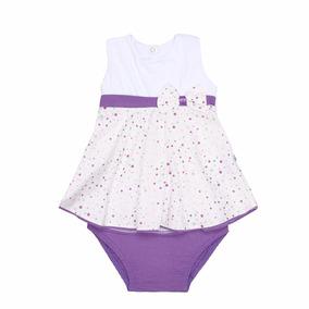 Vestido Infantil + Calcinha. Roxo & Off White Coisa Rica - G