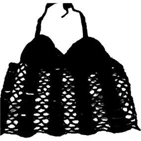 Crop Top De Hilo Largo Tejido Crochet