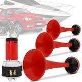 Buzina Pra Moto Eletropneumática Com Três Cornetas Vermelhas