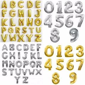 Balão Letras E Números Prata Dourado 40cm Frete Barato