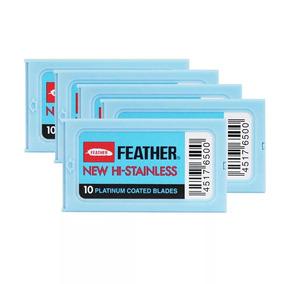 Kit 6 Feather Com 10 Lâminas De Barbear Cada