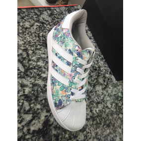 adidas Superstar Floreadas Azul Damas