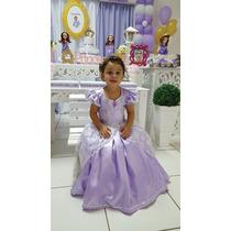 Vestido Fantasia Princesa Sofia Infantil Longo