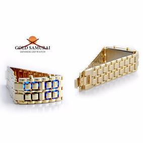 Relógio Pulseira Led Iron Samurai Gold - Dourada / Led Azul