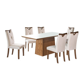 Conjunto De Mesa Para Sala Jantar Kr Com 6 Cadeiras Amêndoa
