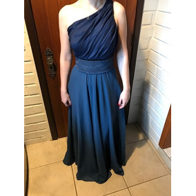Vestido De Festa Longo Azul Escuro Madrinha Casamento
