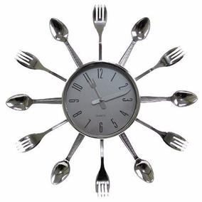 Relógio De Parede Cromado Talheres De Cozinha Garfo E Colher