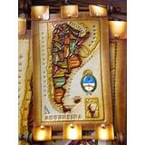 Pergamino Mapa De Cuero Argentina 26x17 - Microcentro