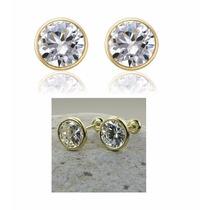 Broqueles Arete Oro 14k Lam. Y Hermosos Diamantes Ruso 7x7mm
