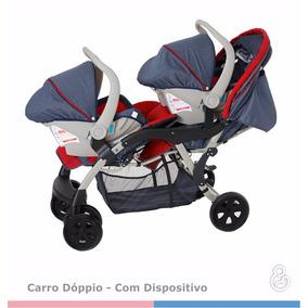 Kit Carrinho E Bebê Conforto Gêmeos Galzerano Doppio Jeans