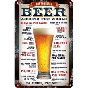 Carteles Antiguos De Chapa Vintage Beer 22.5x15cm Dr-97