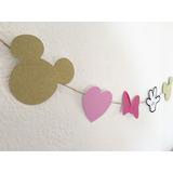 Guirnalda Banderín De Minnie Mouse Gold Dorado Cotillón Deco