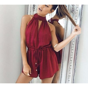 Halter Sexy Ropa Mujer Jumpsuit Blusa Short