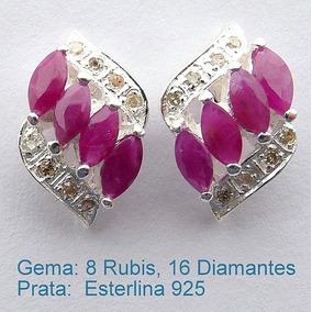 Brinco De Prata 925 Com Rubis E Diamantes Naturais 7006