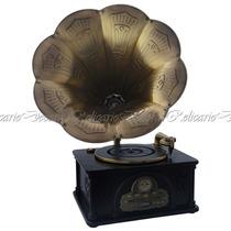 Gramofone Com Caixa De Madeira 220v Design Classico