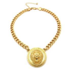Cadena Y Medalla De Leon De 10mm En Oro Laminado De 14k