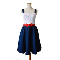 Vestido Pin Up Anclas Marinero Azul Blanco Retro Navy