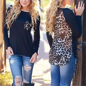 2016 Moda De Nova Leopard,t-shirt,onça,top Blusa Manga Longa