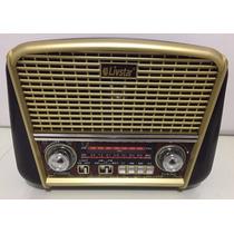 Radio Antigo Retro Vintage Portatil Com Lanterna Usb Sd Aux