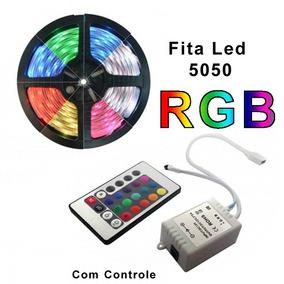 Fita De Led Rgb 5050 Rolo 5m Ip65 12v Controle Remoto