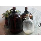 Antiguo Botellon De Vidrio Con Asa, Color Ambar