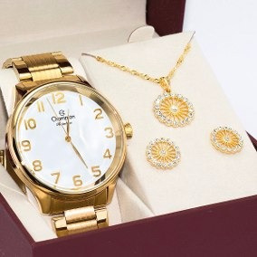 Relógio Grande Champion Dourado Kit Colar/brinco Cn29918m