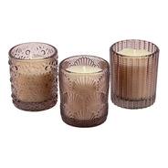 Trio Velas Aromatizada Decorativa Copo Vidro Fumê Perfumadas