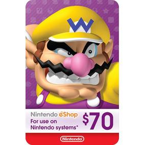 Cartão Nintendo Usa 3ds Wii-u Switch Eshop Card $70 Dólares