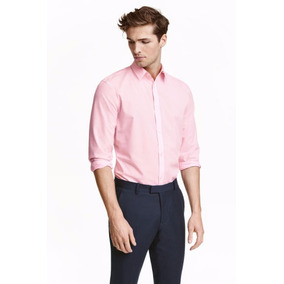 Remate H&m Camisa Caballero Color Cuadros Rosa Talla 2xl