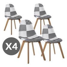 Silla Eames Patchwork Escandinavo Polipropileno Acolchada X4