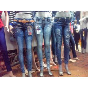 Jeans Para Dama De Piedreria Levantacola