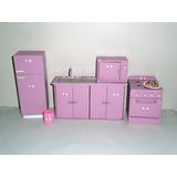 Muebles Pintados - Casita De Muñeca Barbie - Juego De Cocina