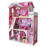 Casa De Muñecas Madera 3 Niveles 12 Muebles / Barbie / 121cm
