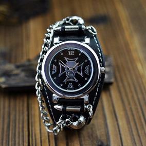 Reloj Mujer Hombre Punk Calavera Cadenas Cruz De Choppers