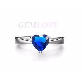 Anillo Compromiso De Corazón Zafiro Azul En Plata Fina