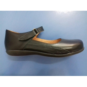 Calzado Colegial Escolar Guillermina Zapato Cuero Abrojo