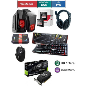 Pc Gamer Amd 8gb 1tb 1050ti 4gb Fonte 750wts Tecl Mecanico