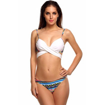 Oferta Hermoso Bikini Blanco Trival Playa Push Up Ajustable