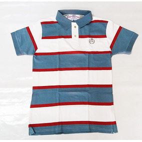 Polo Masculina Camisa Rodeo Way Listrada Azul branco bef866cc00a64