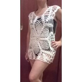 Vestido De Playa, Pile Tejido A Crochet