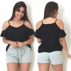 Blusa Camisa Feminina Detalhe De Renda Alça Moda Verão 2018