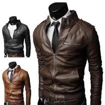 Jaqueta Fashion Couro Slim Motociclista Moto Frete Gratis